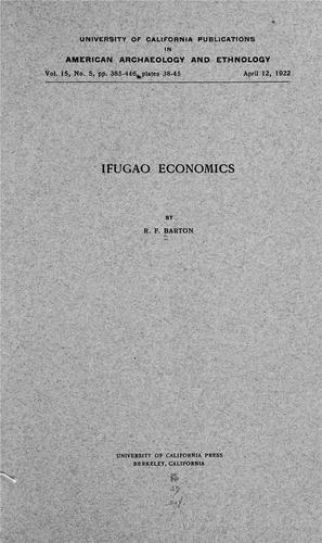 Ifugao economics by Roy Franklin Barton