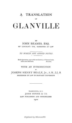 A translation of Glanville