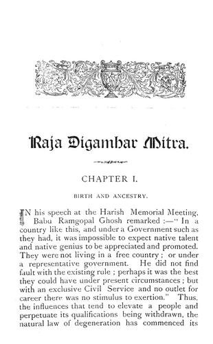 Raja Digambar Mitra, C.S.I., his life and career by Bholanauth Chunder