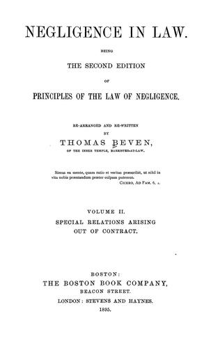 Negligence in law by Beven, Thomas