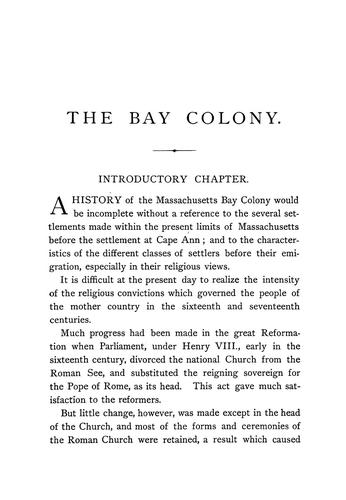 The Bay colony by William Dummer Northend