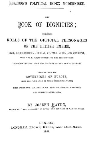 The book of dignities by Joseph Timothy Haydn