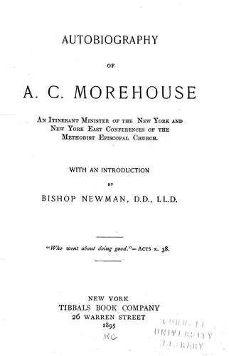 Autobiography of A. C. Morehouse by Alonzo Church Morehouse