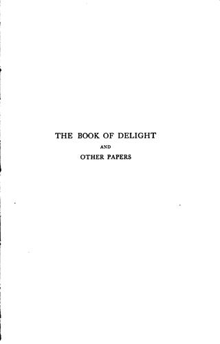 The Book of Delight: And Other Papers by Israel Abrahams