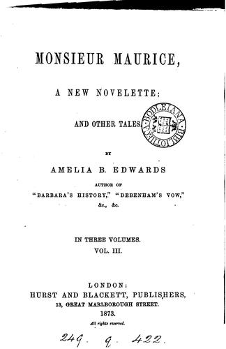 Monsieur Maurice, and other tales by Amelia Ann Blanford Edwards