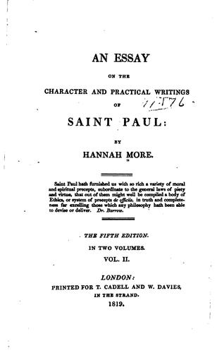 An Essay on the Character and Practical Writings of Saint Paul by Hannah More