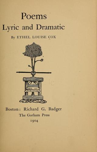 Poems: lyric and dramatic