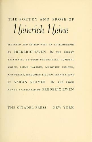 The poetry and prose of Heinrich Heine