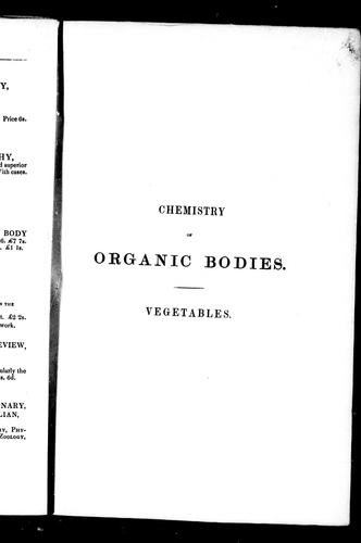 Chemistry of organic bodies, vegetables by Thomson, Thomas