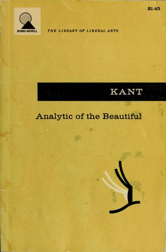 Analytic of the beautiful, from the Critique of judgment by Immanuel Kant
