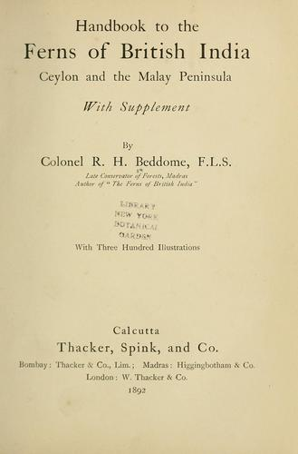 Handbook to the ferns of British India, Ceylon and the Malay peninsula by R. H. Beddome