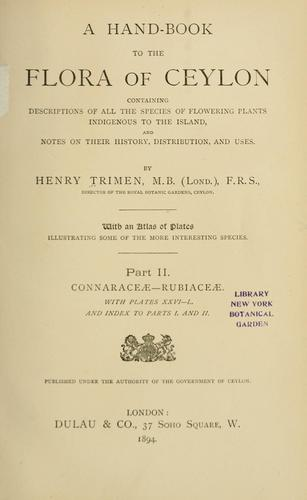 A hand-book to the flora of Ceylon by Henry Trimen