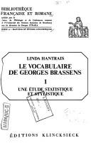 Le vocabulaire de Georges Brassens by Linda Hantrais