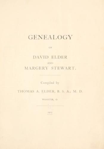 Genealogy of David Elder and Margery Stewart by Thomas A. Elder