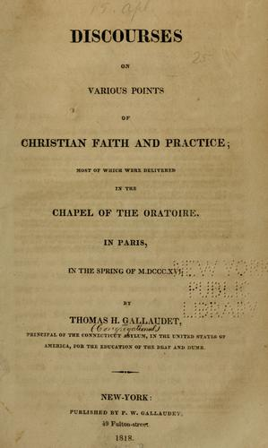 Discourses on various points of Christian faith and practice