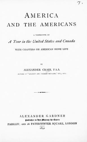 America and the Americans by Alexander Craib