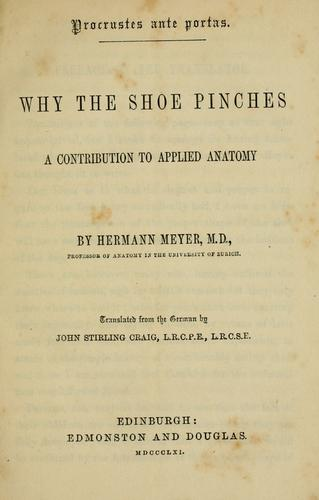 Why the shoe pinches by Georg Hermann von Meyer