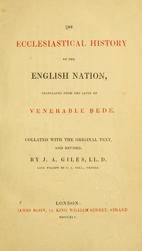 The historical works of Venerable Bede by Bede the Venerable, Saint