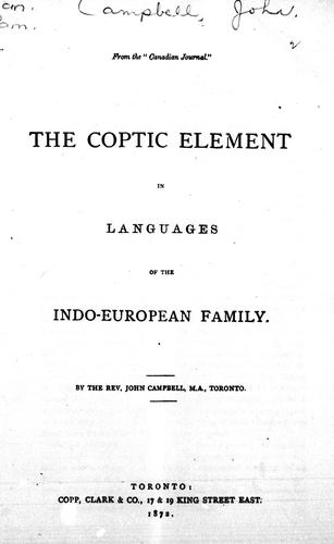 The Coptic element in languages of the Indo-European family by Campbell, John