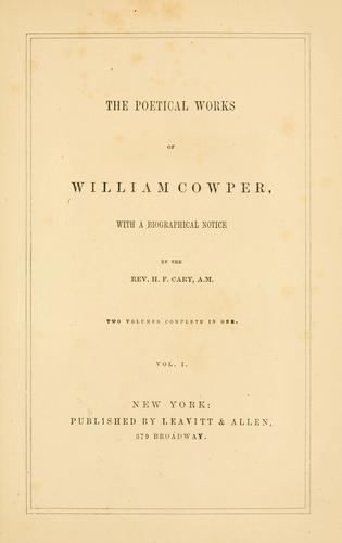 The poetical works of William Cowper by Cowper, William