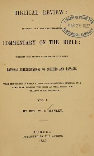 Biblical review by W. E. Manley